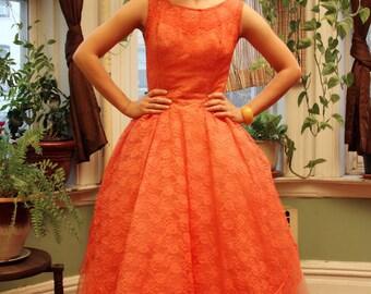 1950's Vintage Coral Pink Lace Party Dress