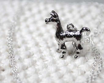Llama Necklace, Gift for knitter, crocheter, silver llama alpaca pendant on long chain