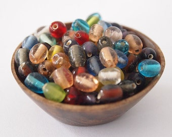 15 gram Mini Oval Glass Beads Translucent Mixed Colors Jewelry Supplies  approximately 60 beads Size 7x6mm