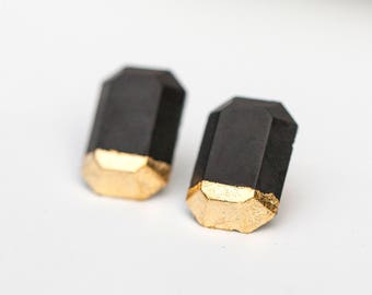 Concrete Polygon Earrings with Gold Leaf (dark)