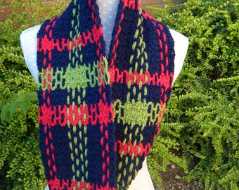 Tartan Style Infinity Scarf ,  Snood in Blue, Red and Green