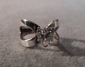 Vintage Sterling Silver  Bold Heart Cubic ZirconiaFancy  Wide Cigar  Band Ring, Size 6.5