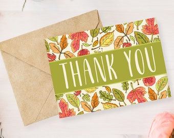 Digital Printable Thank You Notes, Thank You Card, Bridal Shower, Baby Shower, Wedding - Autumn, Leaves, Fall, Note Card- 5x7 TY002green