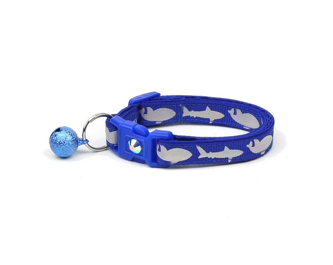 Shark Cat Collar - Silver Sharks on Royal Blue - Kitten or Large Size - Nautical