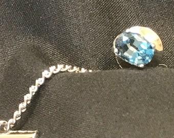 Men's Topaz Sterling Silver Tie Tack