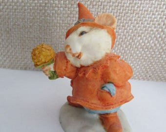 Rare Artefice Ottanta - D. Esposito - adorable charming figurine - little mouse holding a bouquet of flowers