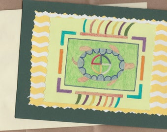 Handmade Thank You Card Native American Indian Turtle