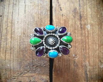 Turquoise Ring with Amethyst and Gaspeite, Native American Indian Jewelry