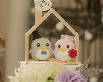 penguin cake topper --Special Edition,penguin wedding cake topper