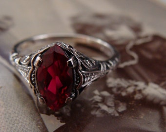 Lovely Sterling Ruby Marquis Ring Size 5 3/4