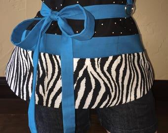 Black, Blue, and Zebra Half Waist Pocket Apron