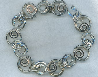 Swirling Wire Bracelet in Argentium Sterling Silver