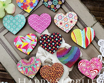 12Pcs Handmade Colorful Heart Charms / Pendants (CWN01)