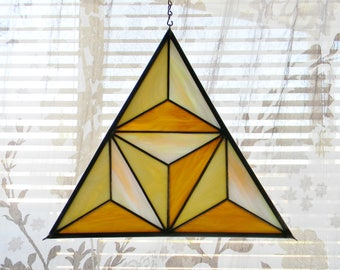 Geometric Stained Glass Window Panel in Iridescent  Pearl, Cream, and Tan - Ready to Ship