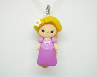 Disney Tangled Rapunzel chibi polymer clay charm - stitch marker - necklace