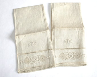 Two Monogramed Victorian Hand Towels
