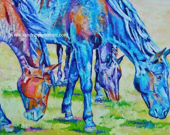 "Original Colorful Horse Friends Oil Painting 18""x24"" by Sandra Spencer"""