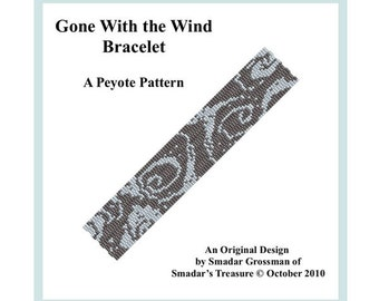 Peyote Bracelet Beading Pattern, 3 Drop Odd Count Peyote Stitch / Gone With the Wind / Off Loom Abstract Beadweaving Bracelet Pattern