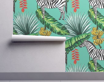 Tropical Jungle Wallpaper -Tropical Zebra Bananas Palm Leaves By Khaus- Custom Printed Removable Self Adhesive Wallpaper Roll by Spoonflower