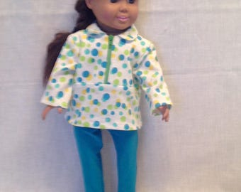 """DO17- 18"""" Doll Clothes: Two piece outfit with strertch pants and zipper front top"""