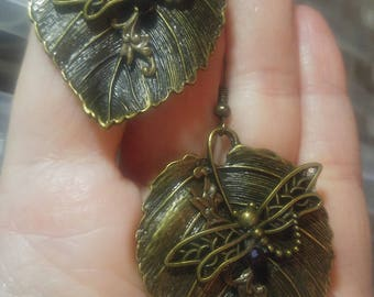 Antique Bronze Dragonfly on Leaf; Steampunk Inspired Earrings; SP717