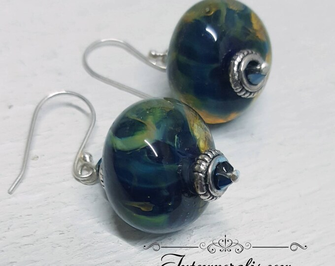 Blue iridescent lampwork beads earrings, OOAK, SABOLW04