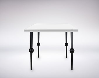 High Gloss White Side Table with Contemporary Legs