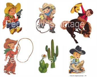 Cowboys 1 Digital Collage from Vintage Greeting Cards  -  Instant Download - Cut Outs