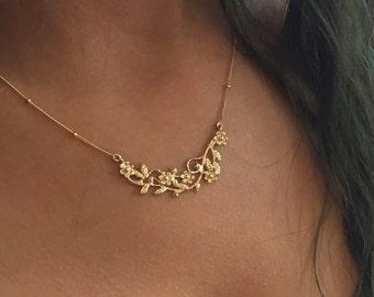 Solid gold floral necklace, botanical necklace, flowers necklace, botanical pendant, Bridal necklace, 10k gold - Boundless love NG2010