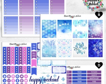 Vertical Weekly Kit Planner Stickers - Watercolor Snowflakes | Boxes, MDN Stickers, Icons | For Use With Erin Condren Life Planner™ (EC-023)