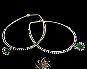 Silver Earrings - Silver Hoops - Ethnic Hoops - Gypsy Hoops - Ethnic Earrings - Hoops Jewelry - Silver Jewelry - Ethnic Jewelry (ES49)