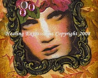 DEPTH OF ME altered art collage recovery therapy ptsd ATC ACEO PRINT ZNE