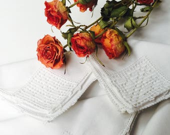 4 Vintage White Napkins with Hand Crochet