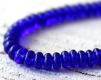 4mm Rondelle - Smooth Rondelle Beads - Jewelry Making Supply - Glass Spacer Disk Beads - Cobalt Blue (100 beads)
