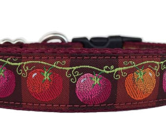 Tomatoes on a Vine Ribbon Dog Collar