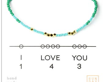 I Love You 143 Friendship Bracelet - Blue/Emerald Gifts for Her