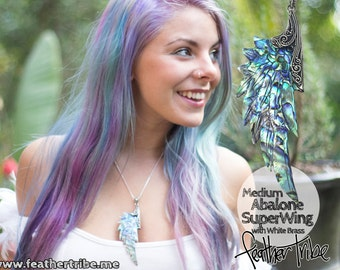 Angels Wing Necklace- Abalone Paua Shell -  Super Wing Necklace - White Brass / Silver finish  - Hand Carved- Free Gift Box! - Feather Tribe