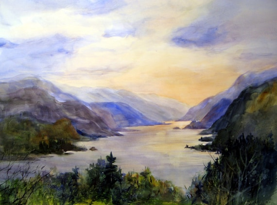 Columbia Gorge 137 - signed watercolor print - Bonnie White - Columbia River Gorge - National Scenic Area - Hood River - paintings