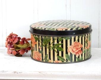 VINTAGE TINDECO TIN - Round - Pink Roses-  Floral - Black White Stripe - Shabby Cottage Chic
