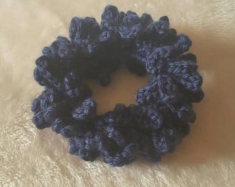 Blue Crochet Hair Scrunchie, Hair Tie, Scrunchies, Hair Care, Hair Accessories, Crochet  Scrunchi,