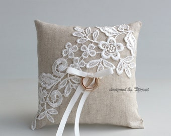 Ring bearer pillow, wedding ring linen pillow with embroidered floral lace-ring bearer, ring cushion, ready to ship
