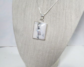 """White wire wrapped rectanglular pendant & 24"""" chain"""