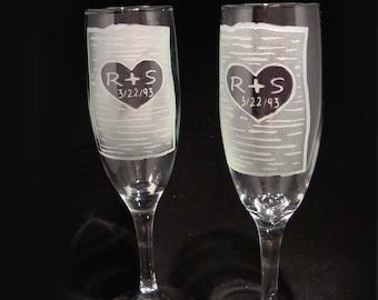 Personnalisé gravé mariage grillage flûtes - bouleau rustique grillage flûtes - flûtes à Champagne