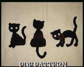 Halloween Black Cats Appliques/Patches -INSTANT DOWNLOAD Crochet Pattern