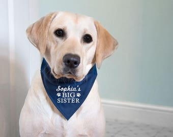 Personalised Dog Bandana, Big Sister Dog Clothing, Big Brother Dog Announcement, Embroidered, Over the Collar Bandana, White Embroidery