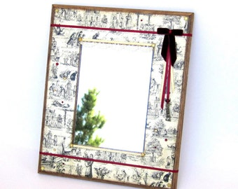 Small Mirror Decoupaged Vintage Style Black and White Toile Mixed Media Wall Art Mirror Crystal Embellished Mothers Day Gift for Mom