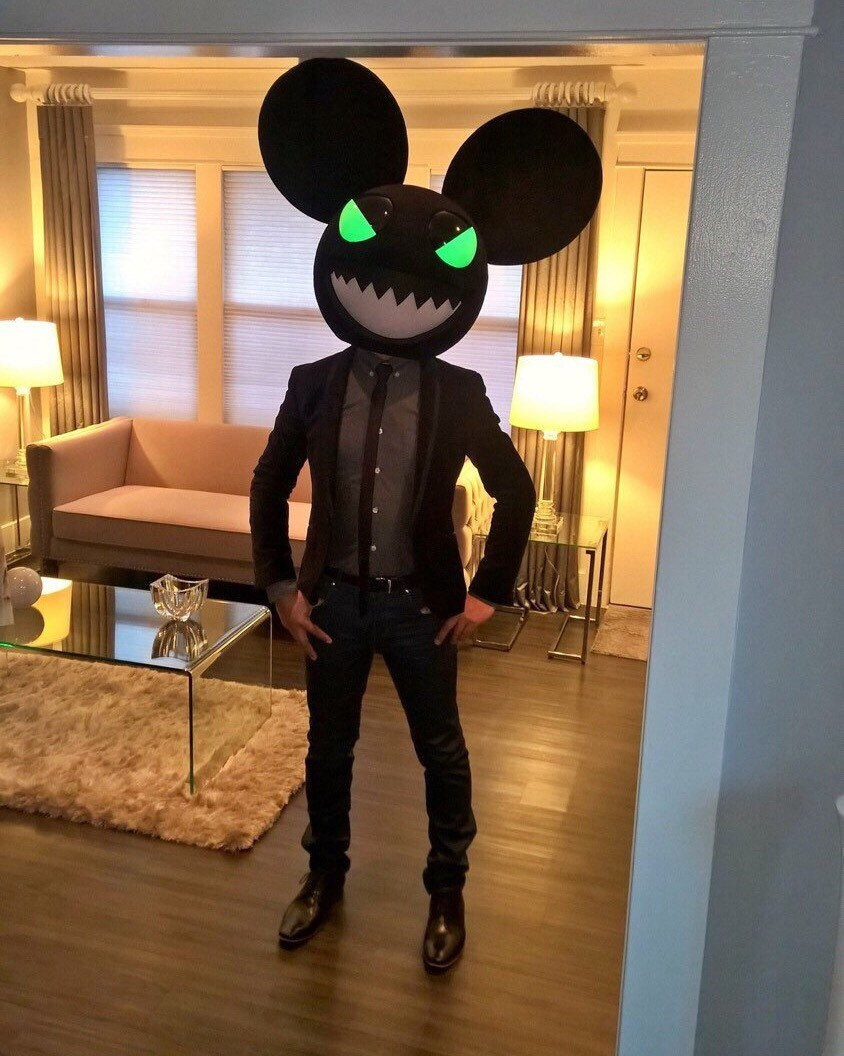 Evil Black Mouse Head Rave Party Costume inspired by a