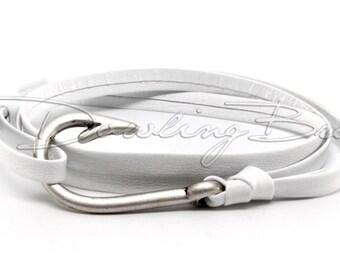 White Nappa Leather Nautical Fish Hook Bracelet