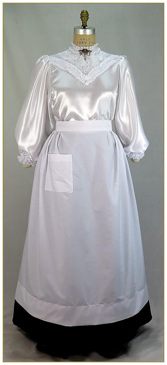 Vintage Aprons, Retro Aprons, Old Fashioned Aprons & Patterns Victorian Maids Full Length Half Apron $42.00 AT vintagedancer.com