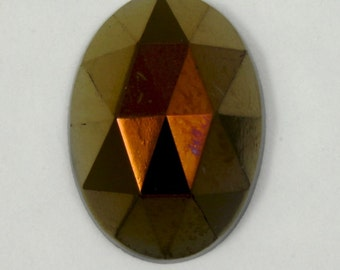 18mm Dark Bronze Faceted Glass Cabochon #1330